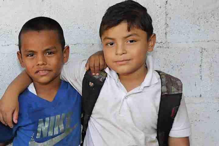 Boys hug in Nicaragua