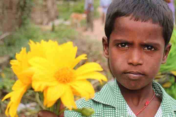 Boy in India with flower
