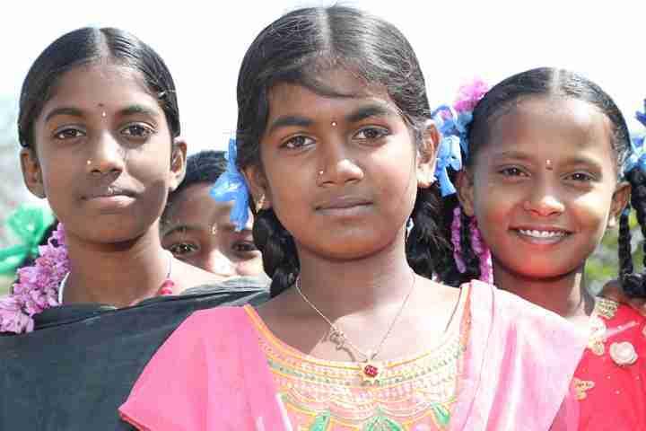 Close up shot of three girls