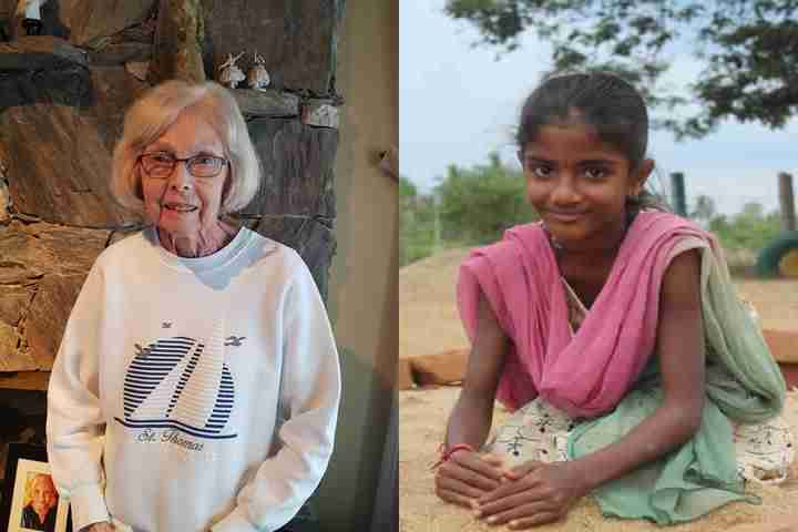 Photo of donor alongside a photo of her sponsored child